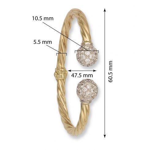 9ct Yellow Gold Torque Bangle 5.5mm Gold