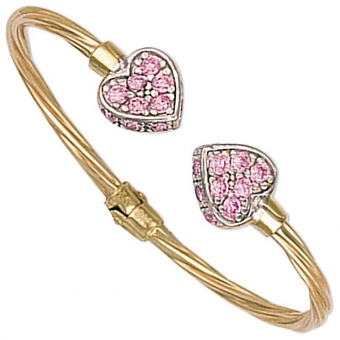 9ct Yellow Gold Hinged Pink Cz Heart Baby Torque Bangle Cubic Zirconia Gold