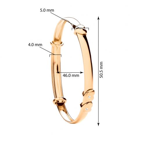 9ct Yellow Gold Expandable Baby Bangle With Floating Cz Heart Cubic Zirconia Gold