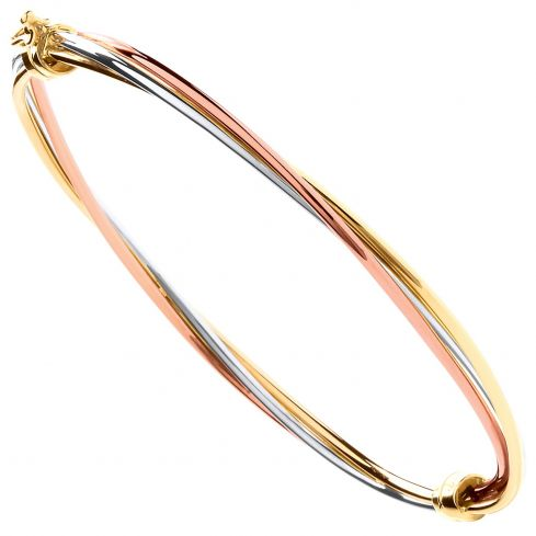 9ct Yellow White And Rose Gold Russian Style Hinged Bangle Gold