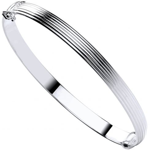 9ct White Gold  Hollow Ribbed Ladies Bangle