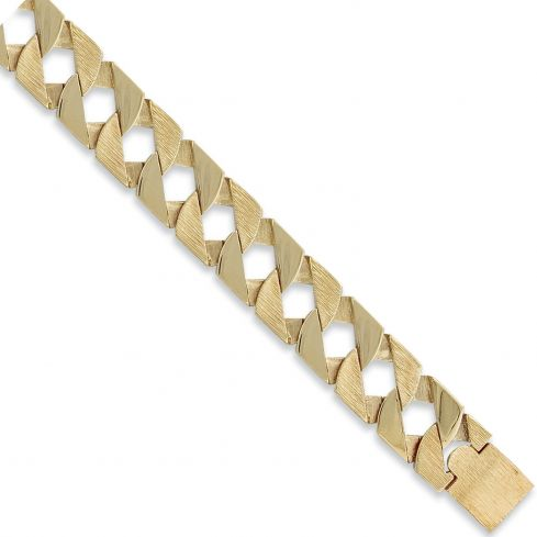 9ct Yellow Gold Curb Bracelet 22mm