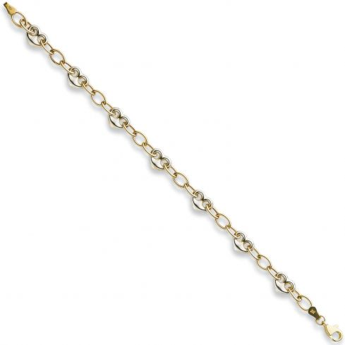 9ct Yellow And White Gold Fancy Heart Linked Bracelet