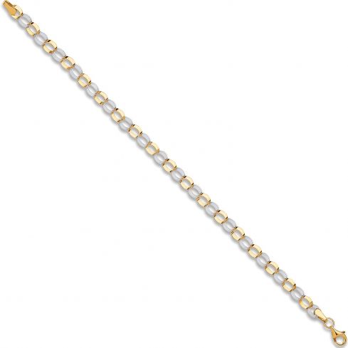 9ct Yellow And White Gold Oval Hollow Link Bracelet