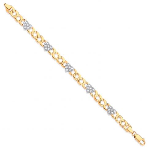 9ct Yellow Gold Casted Ladies Cz Heart Bracelet