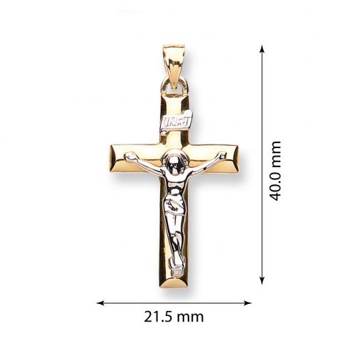 9ct Yellow and White Gold Crucifix Gold