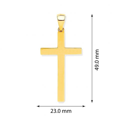 Yellow Gold Solid Plain Cross Gold
