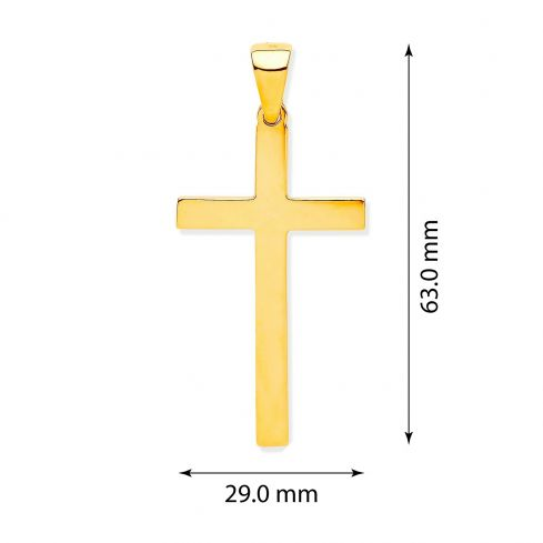 Yellow Gold Solid Large Plain Cross Gold