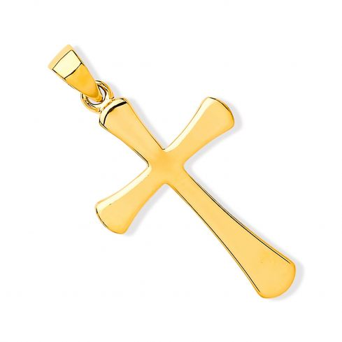Yellow Gold Oval Ends Plain Cross Gold