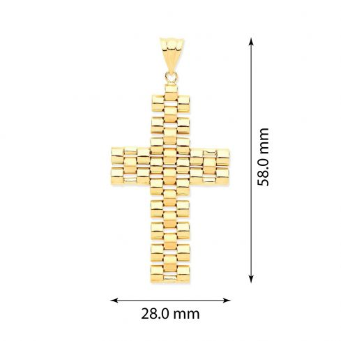 Yellow Gold Rolex-Style Link Large Cross Gold