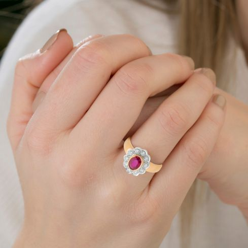 18ct Yellow Gold 0.40ct Diamond & Ruby Cluster Ring Ruby Gold