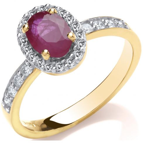 9ct 0.30ct Diamond & Oval Ruby yellow Gold Ring Ruby Gold