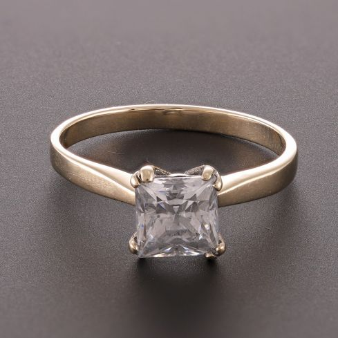 Pre-Owned 9ct Yellow Gold Single Stone Ring Cubic Zirconia Gold
