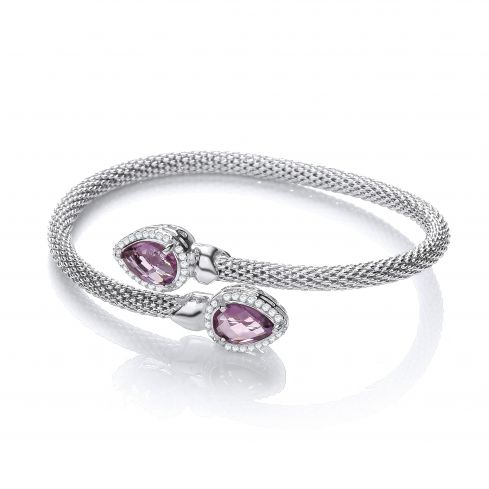 Sterling Silver Bangle Set With Purple Amethyst