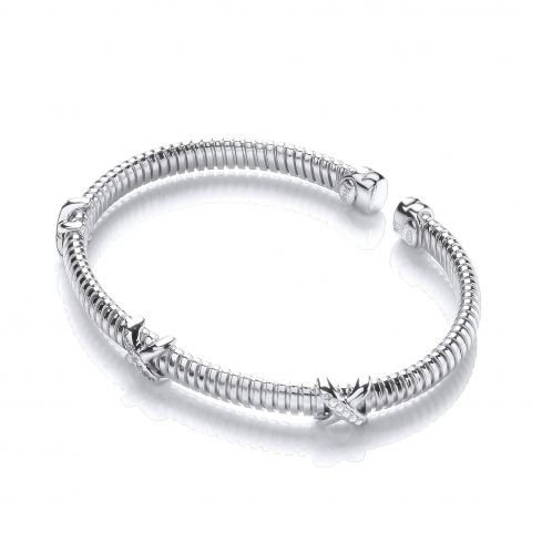 Sterling Silver Kiss Bangle Set With White Cubic Zirconia