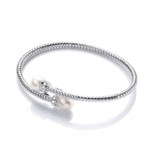 Sterling Silver Bangle Set With White Two Freshwater Pearl