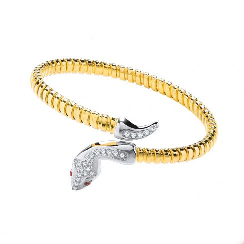 Yellow Gold Coated Sterling Silver Snake Bangle Set With White CZs