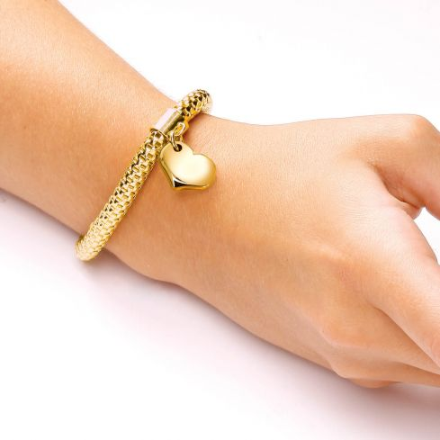 Yellow Gold Coated Expandable Silver Bracelet-7