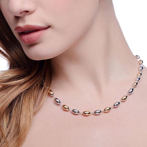 Two Tone Silver Bead Necklace 16