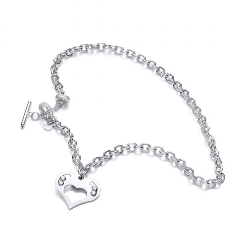 Silver Toggle Necklace Presented With Swarovski Crystals - 18
