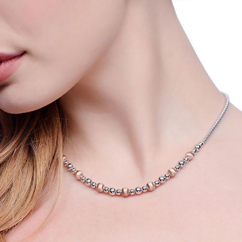 Two Tone Silver Bead Necklace - 17