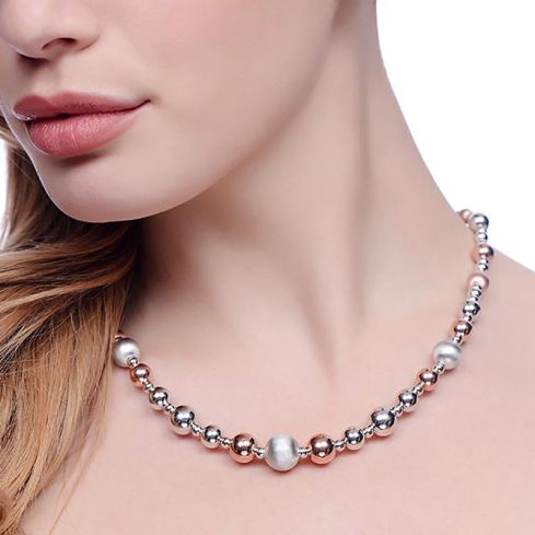 Two Tone Silver Bead Necklace - 18