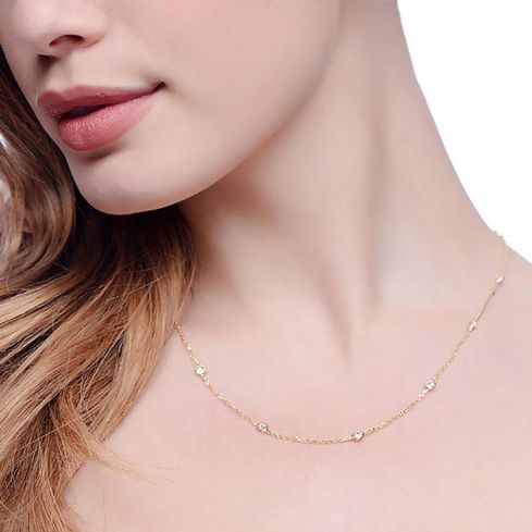 Silver Fancy Necklace Set With Cubic Zirconia 18