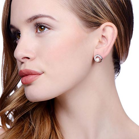 Stud Silver Earrings Set With Pearls Pearl Silver