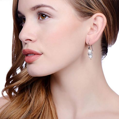 Drop Silver Earrings Set With Glass Pearls Pearl Silver