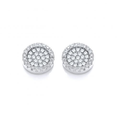 Cluster Stud Silver Earrings Set With CZs Cubic Zirconia Silver