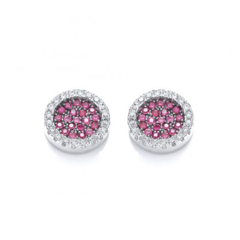 Cluster Stud Silver Earrings Set With Red CZs Cubic Zirconia Silver