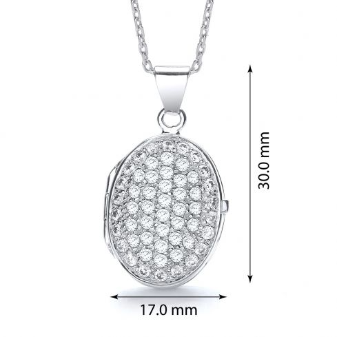 Oval Shape Silver Locket Set With Cubic Zirconia Cubic Zirconia Silver
