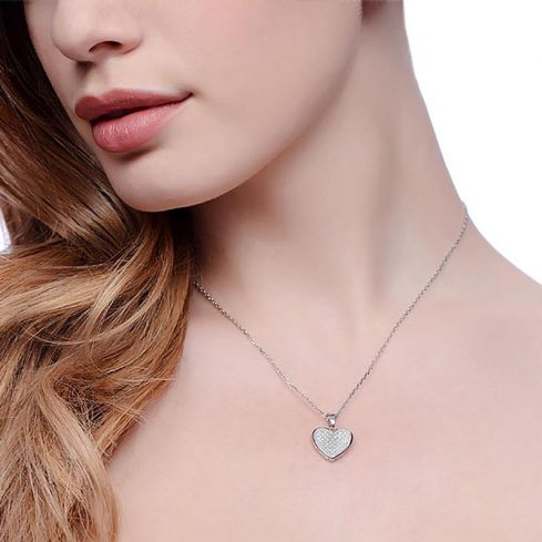 Heart Shape Silver Necklace Set With CZs Cubic Zirconia Silver