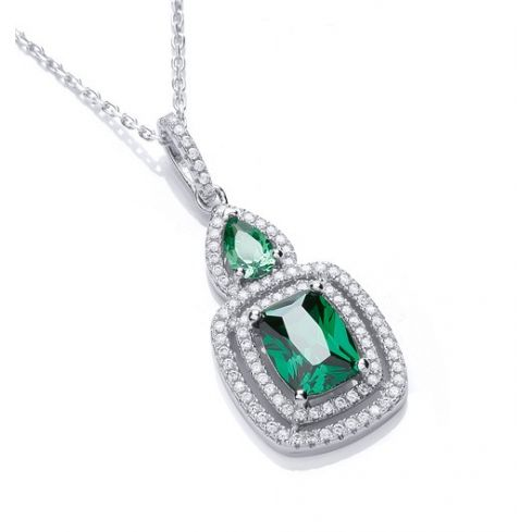 Silver Necklace Set With Green CZs Cubic Zirconia Silver