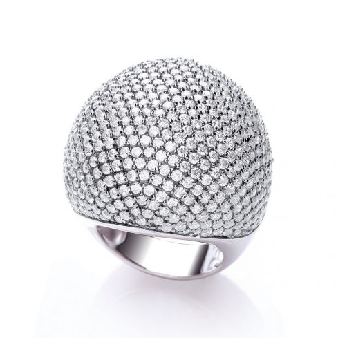 Silver & White CZ Cocktail Ring Cubic Zirconia Silver