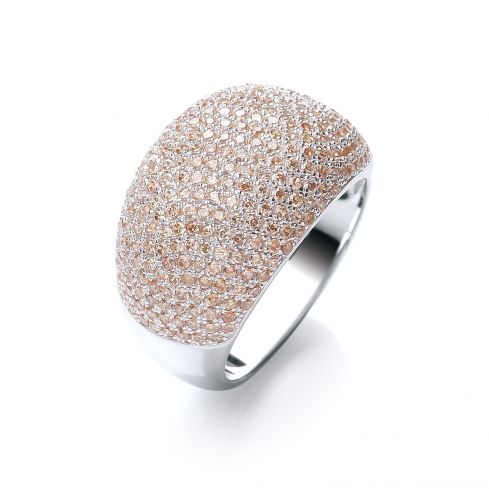 Silver & Champagne CZ Cocktail Ring Cubic Zirconia Silver