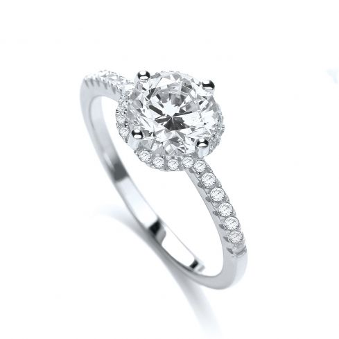 Silver & White CZ Solitaire Ring Cubic Zirconia Silver