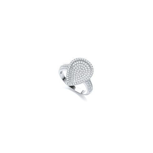 Silver & White CZ Cluster Ring Cubic Zirconia Silver