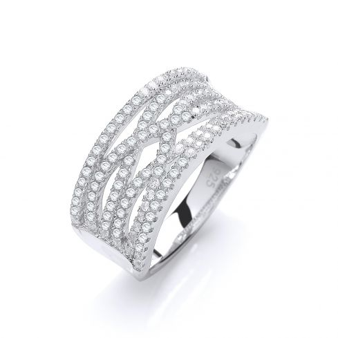 Silver & White CZ Cross Over Ring Cubic Zirconia Silver