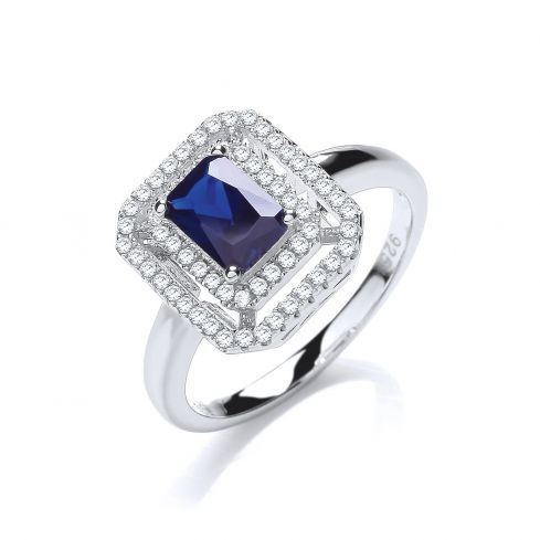 Silver & Blue CZ Cluster Ring Cubic Zirconia Silver