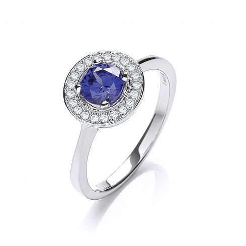 Silver & Blue CZ Halo Ring