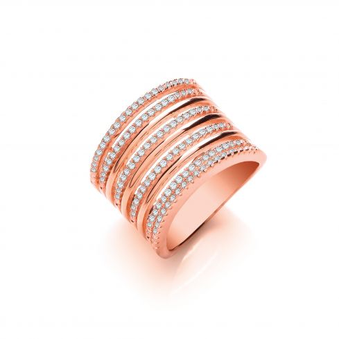 Rose Coated Silver & White CZ Dress Ring