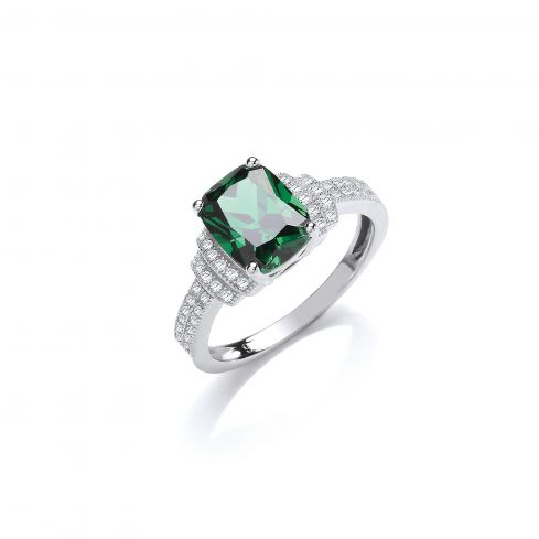 Silver & Green CZ Solitaire Ring