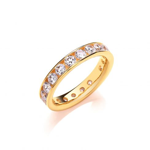 Yellow Coated Silver & White CZ Full Eternity Ring