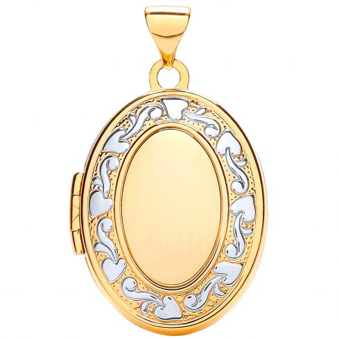 9ct Yellow White Gold Oval Shaped Family Locket Gold