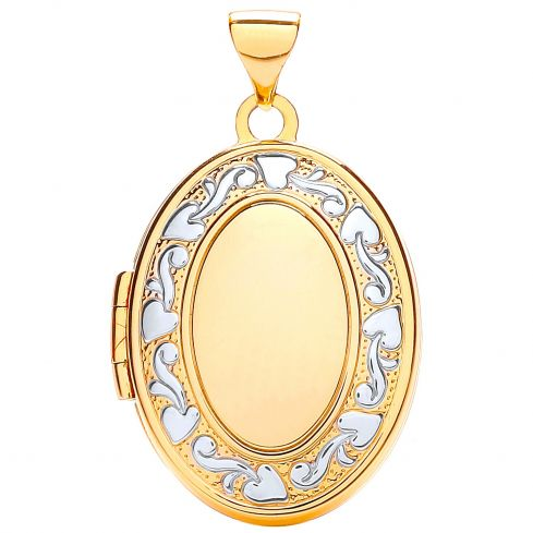 9ct White and Yellow Gold Oval Shaped Locket Gold