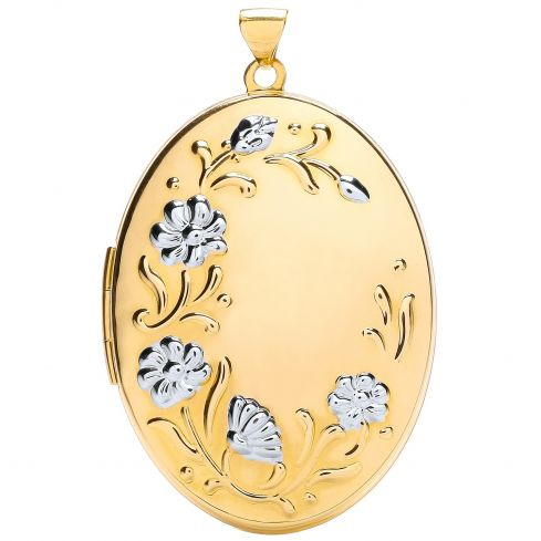9ct White and Yellow Gold Oval Flower design Locket Gold