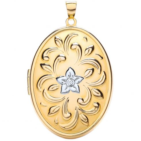 9ct White and Yellow Gold Oval Locket Gold