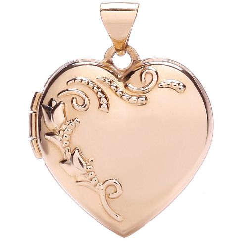 9ct Gold Heart Shape Locket with design Gold