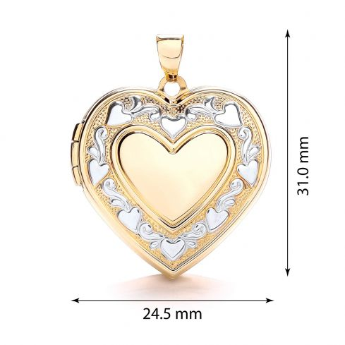 9ct Yellow and White Gold Heart Shape Locket Gold